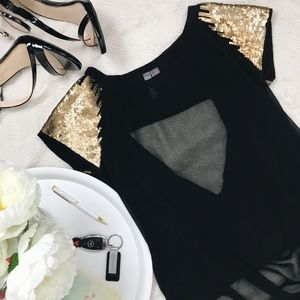 Tops - Black and Gold Sequin Flowy Blouse